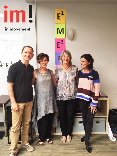 A los lados Enric Arola y Judit Miret los socios de In Movement! y en el centro las fundadoras del programa Vicki Henricks and Rho Sandberg.
