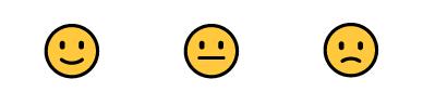 3 emotitcones (riendo - normal - enfadado